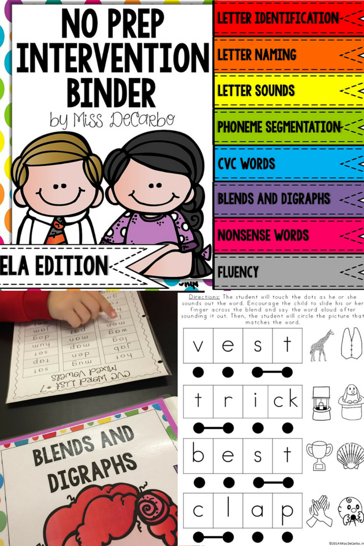 Reading Intervention Binder for Beginning Readers No Prep ELA ...