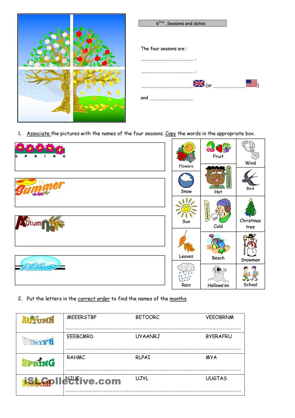 Seasons, Dates, Ordinal Numbers | ESL 2 | Pinterest