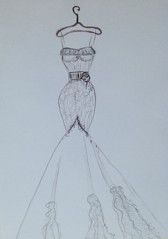 Wedding dress drawing Custom siren Wedding dress by Myartspace ...