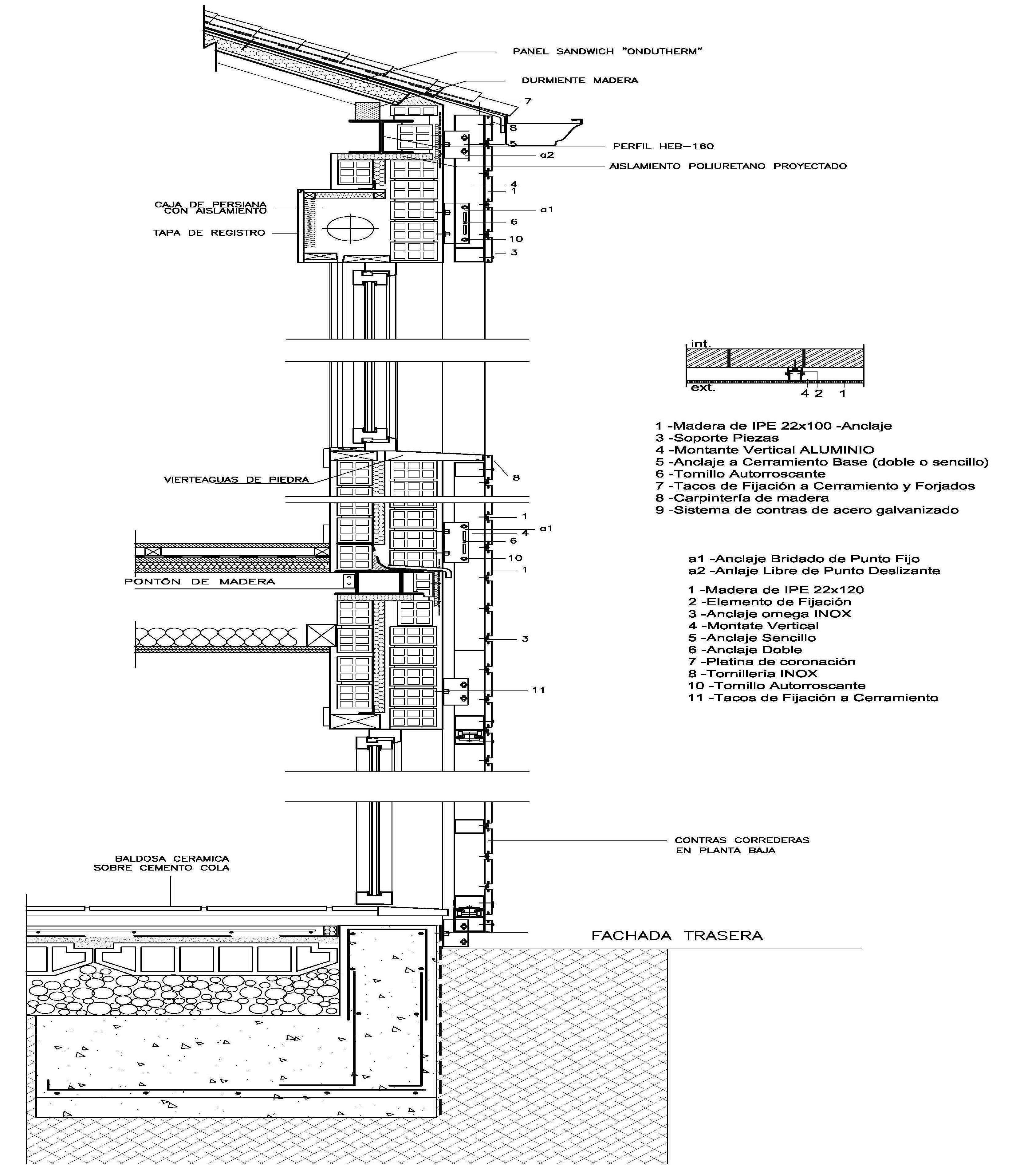 Detalle carpinteria fija buscar con google arq secci n ct pinterest carpinteria - Detalle constructivo techo ...