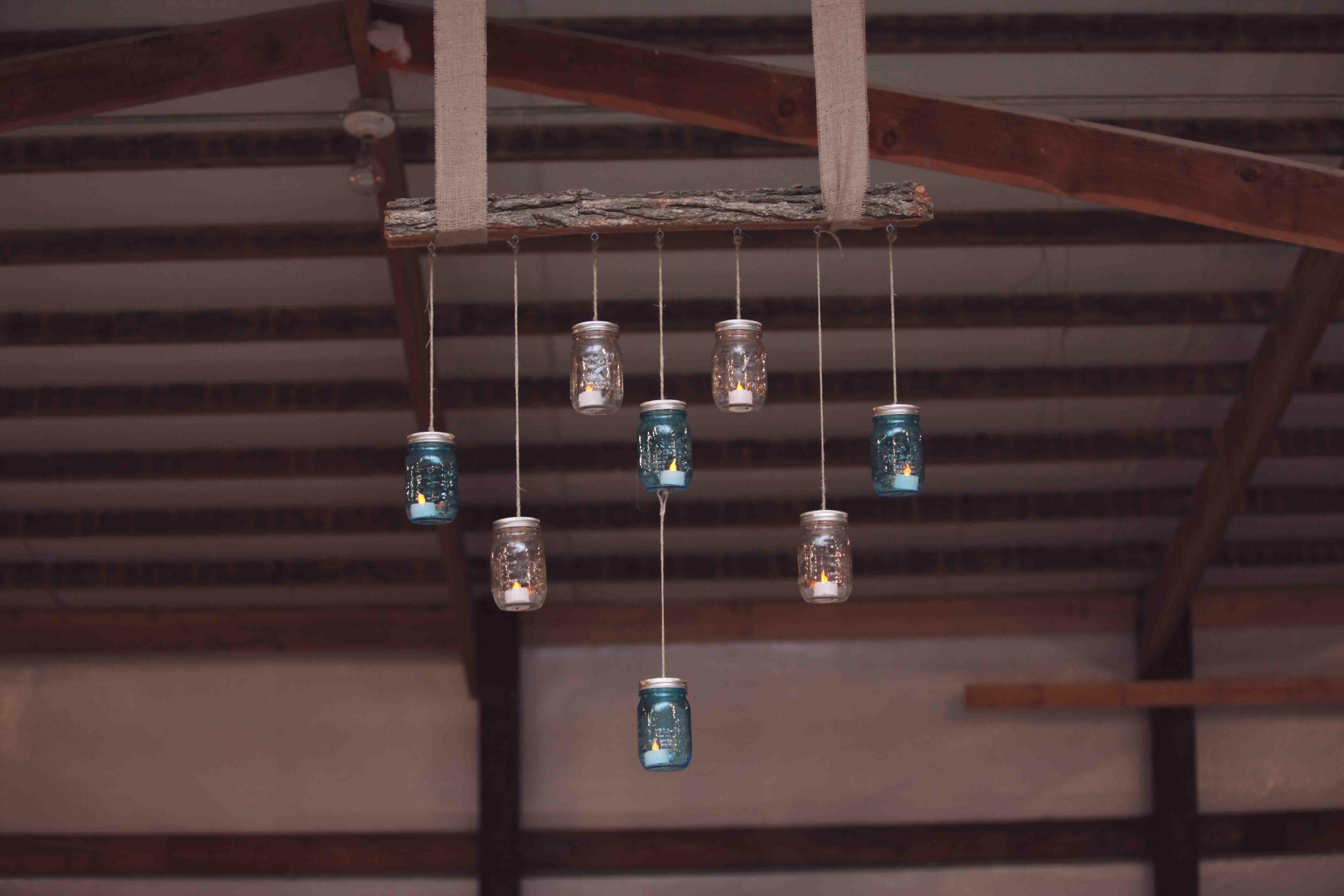mason jar heart chandelier