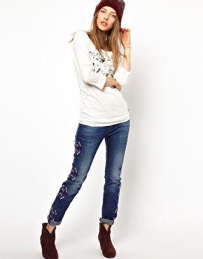 Enlarge Maison Scotch La Parisenne Skinny Jeans with Embroidery Detail
