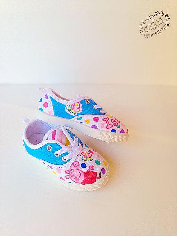 de51c9b2921 Custom peppa pig canvas shoes Toddler shoes by BellaLaceBoutique ...