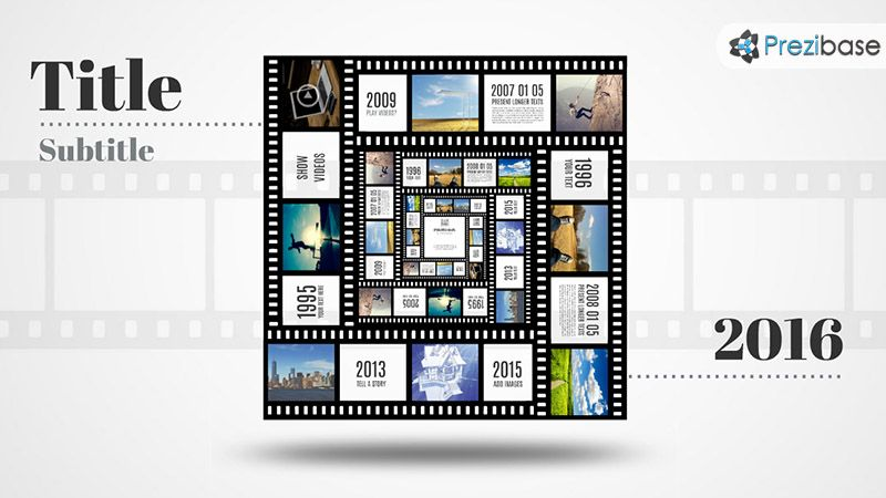 3d square photo frame template in movie film tape prezi template for