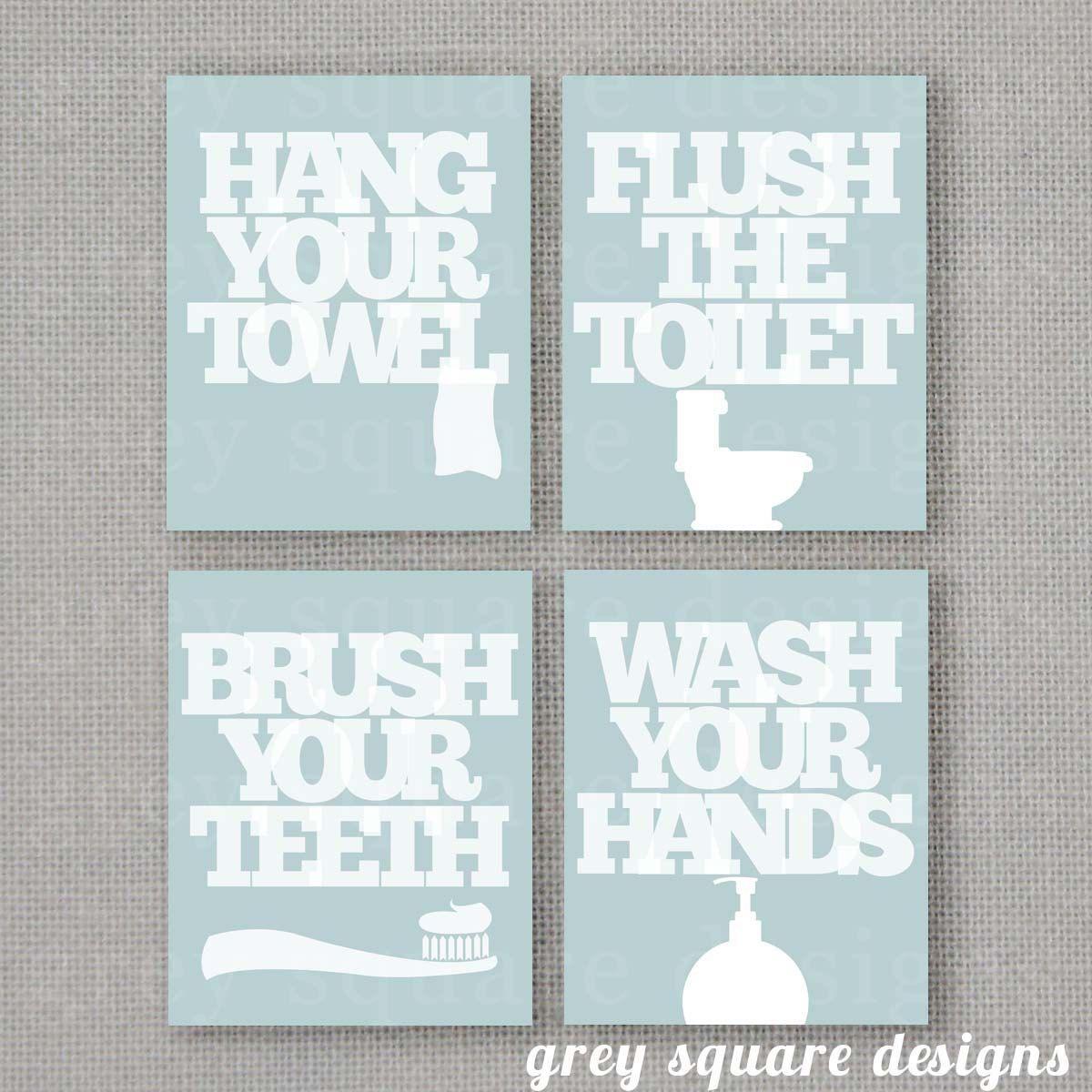 Kids Bathroom Wall Art. Bathroom Rules. Brush Wash Flush Hang Prints.  Typographyu2026 | WOOD CRAFTS | Pinterest | Bathroom Wall Art, Kid Bathrooms  And Kid Kid