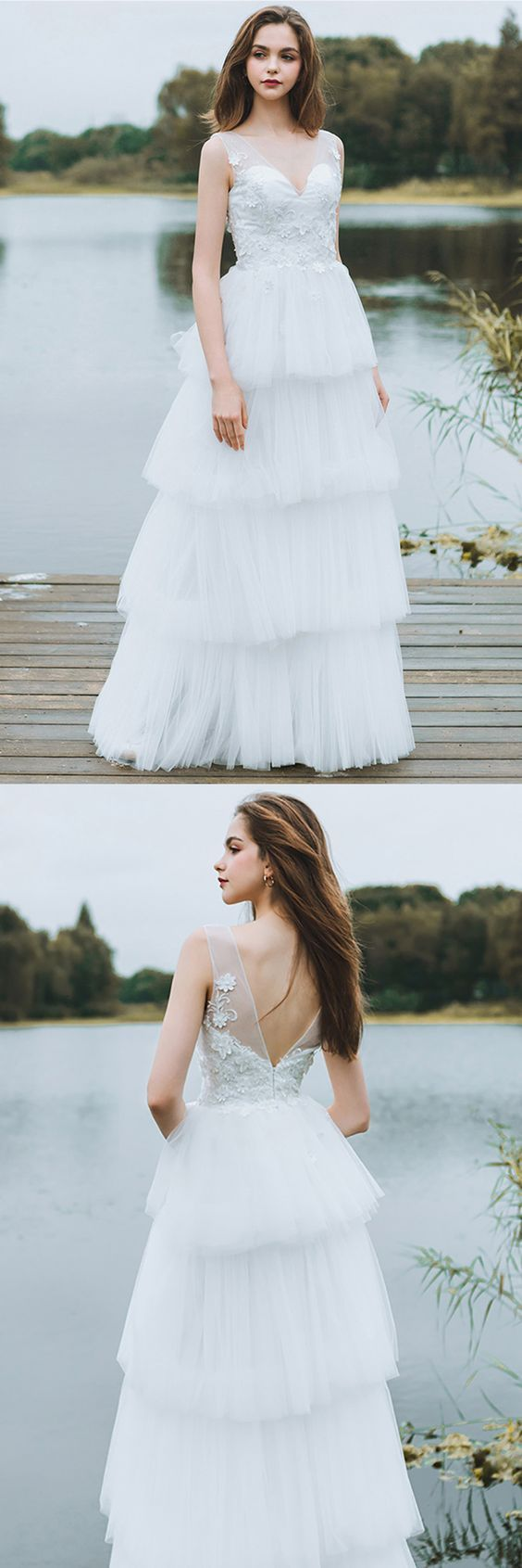 Unique tiered tulle low back wedding dress beach weddings long dress
