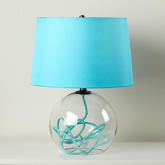 Kids Lighting: Aqua Blue Crystal Ball Table Lamp | The Land of Nod ...