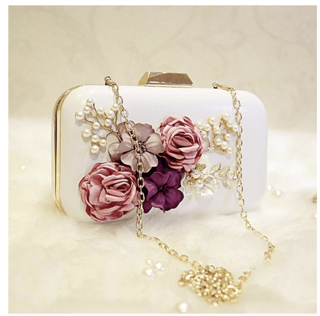 Wedding Styles For The African Ladies Clutch Bags Handmade Leather Evening Bags Leather Flowers