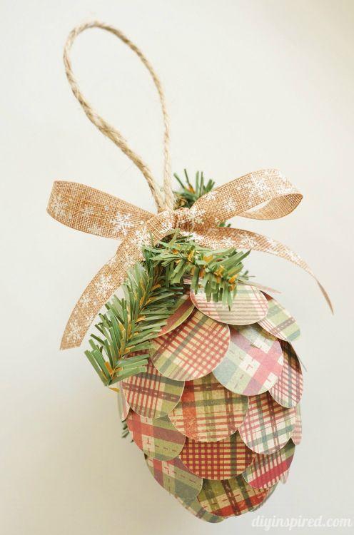 Repurposed Paper Pine Cone Ornaments Paper Christmas Ornaments