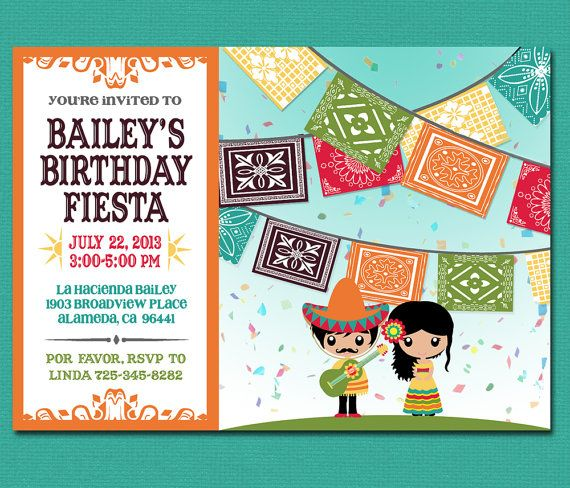 print yourself kid's mexican fiesta invitation by cardvarkdesigns, Birthday invitations