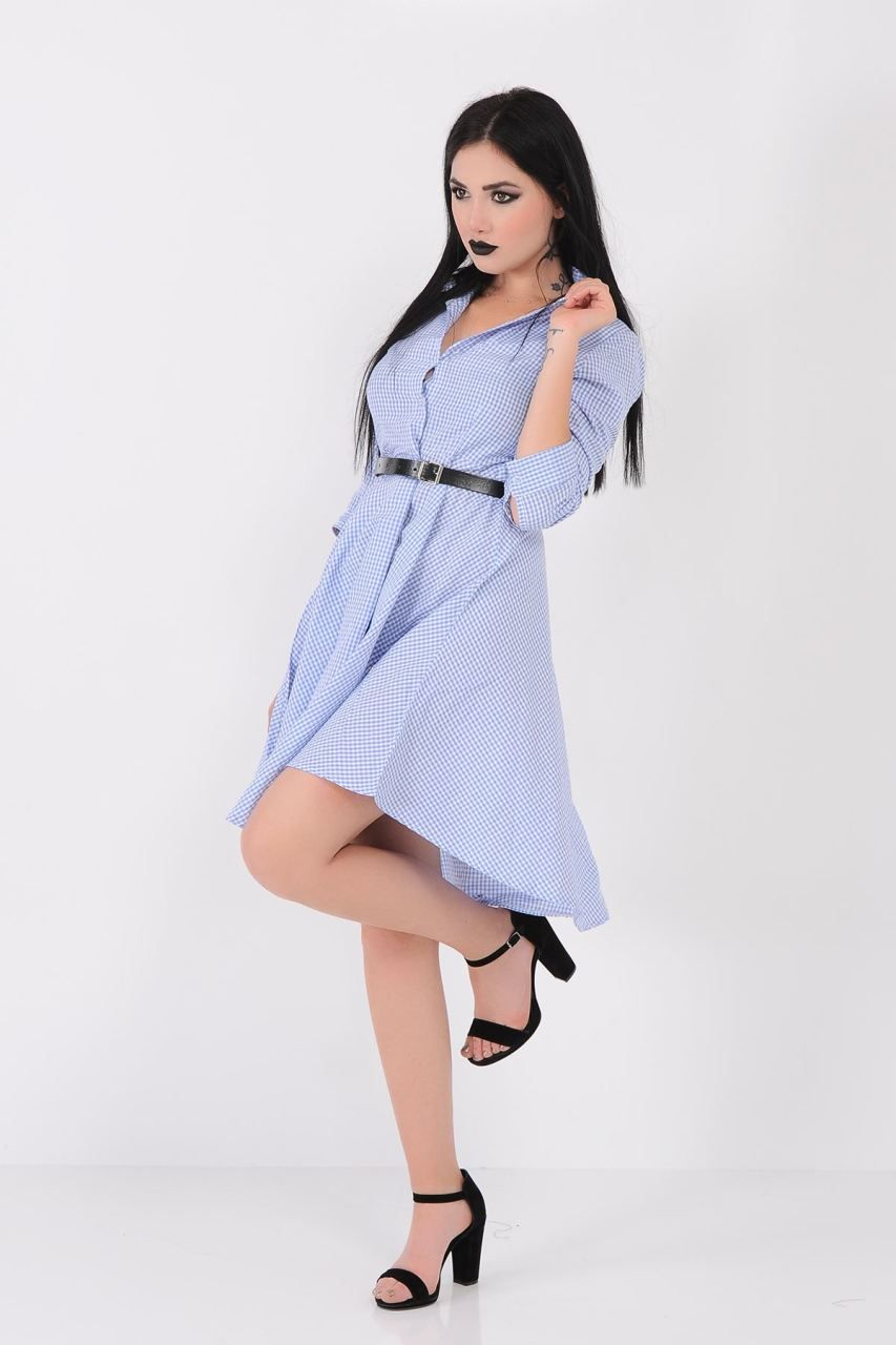 Piti Kareli Mavi Beyaz Gomlek Elbise Giyim Indirim Kampanya Bayan Erkek Bluz Gomlek Trenckot Hirka Etek Yelek Elbise Gomlek Elbise Elbise Modelleri