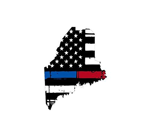 Maine Tattered Thin Bluered Line Us Flag Honoring Our Men Women Of - Custom vinyl decals maine