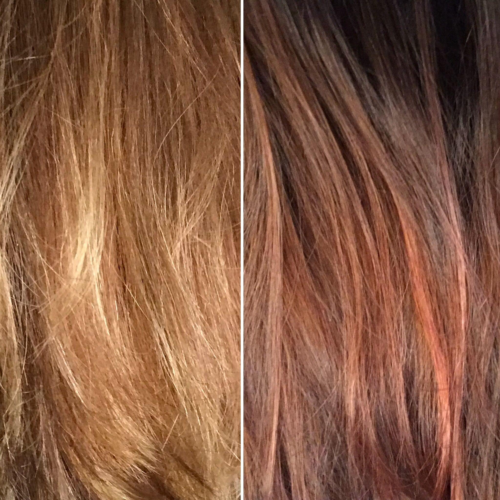 Before and after using Overtone Rose Gold. (With images) | Overtone hair, Hair help, Trending ...