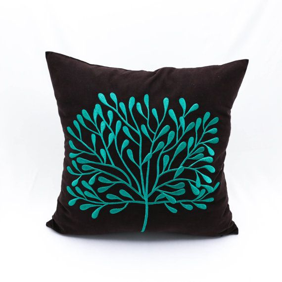 teal decorative pillow cover home decor dark brown linen. Black Bedroom Furniture Sets. Home Design Ideas