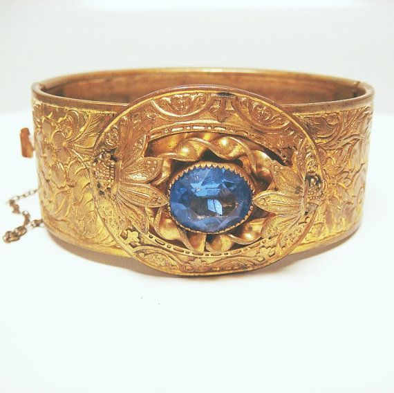 +art nouveau sapphire jewelry | Art Deco / Art Nouveau Sapphire Glass Bangle by goldandgemsllc, $119 ...