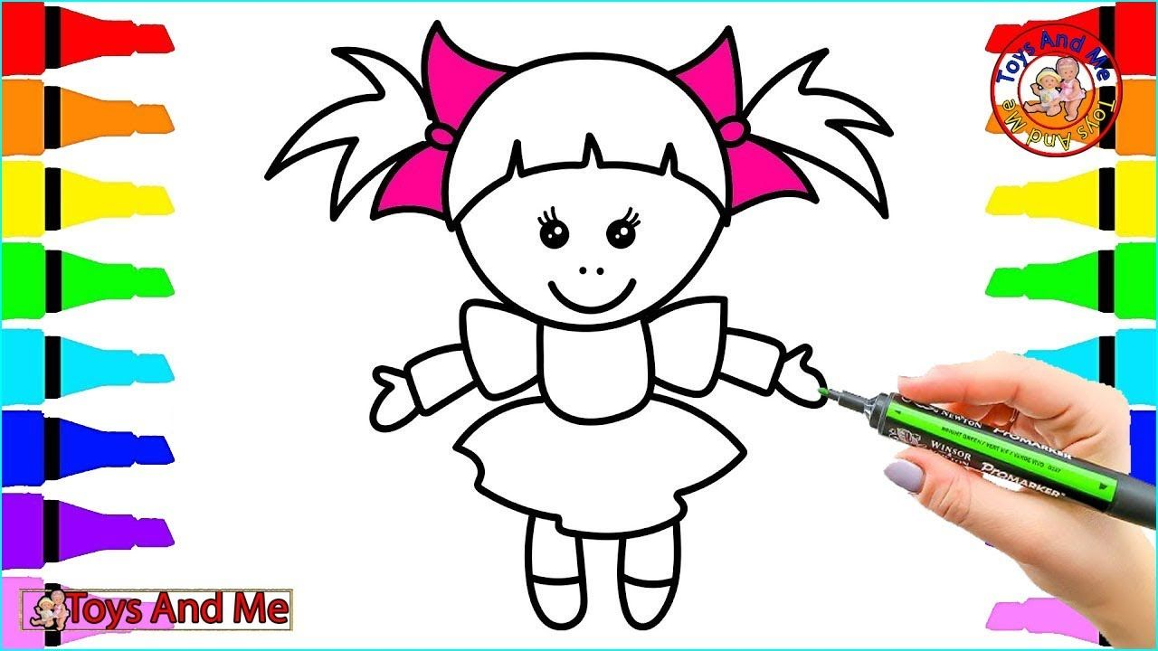 toy baby doll in dress with bows coloring book and toy baby doll