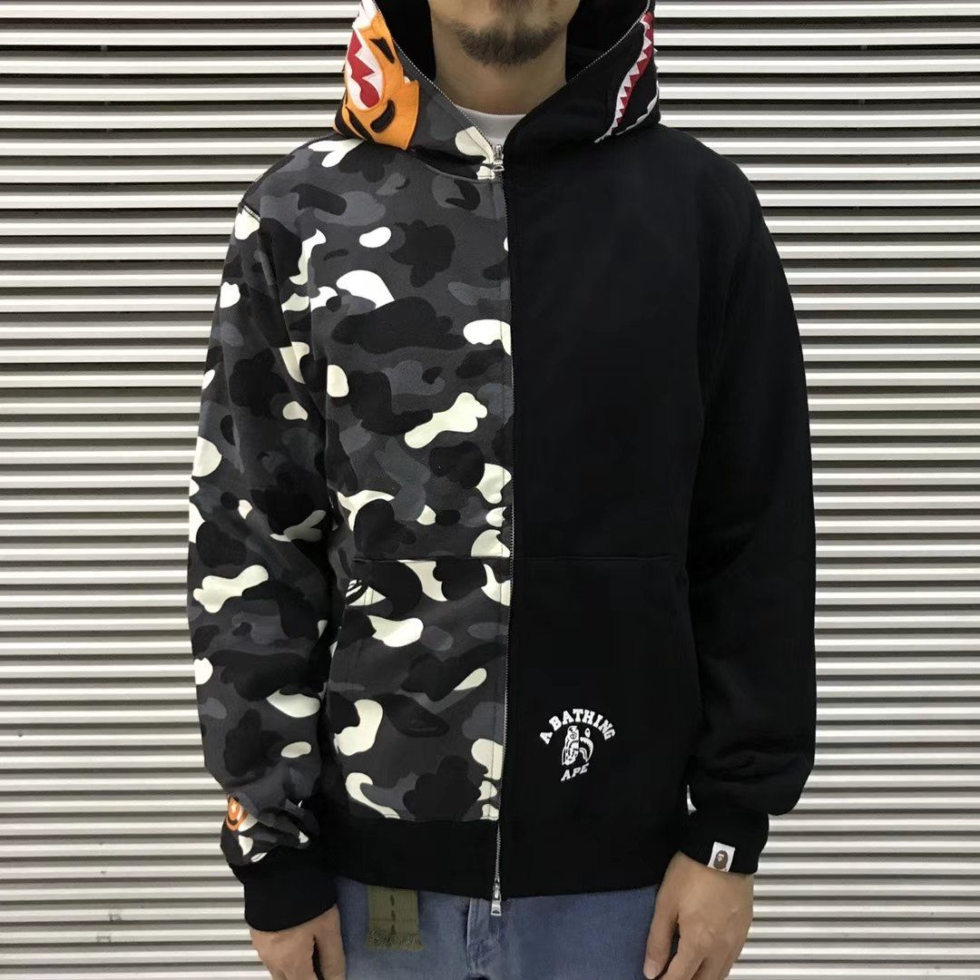 4aed3cf390ee Bape Full-Zip Split Camo Tiger Shark Hoodie