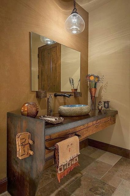 Encantadores baños rústicos Pinterest House, Bath and Powder room