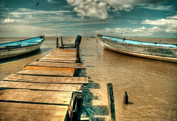 Boats and Jetty by Stephen Jay - Waterloo -Trinidad