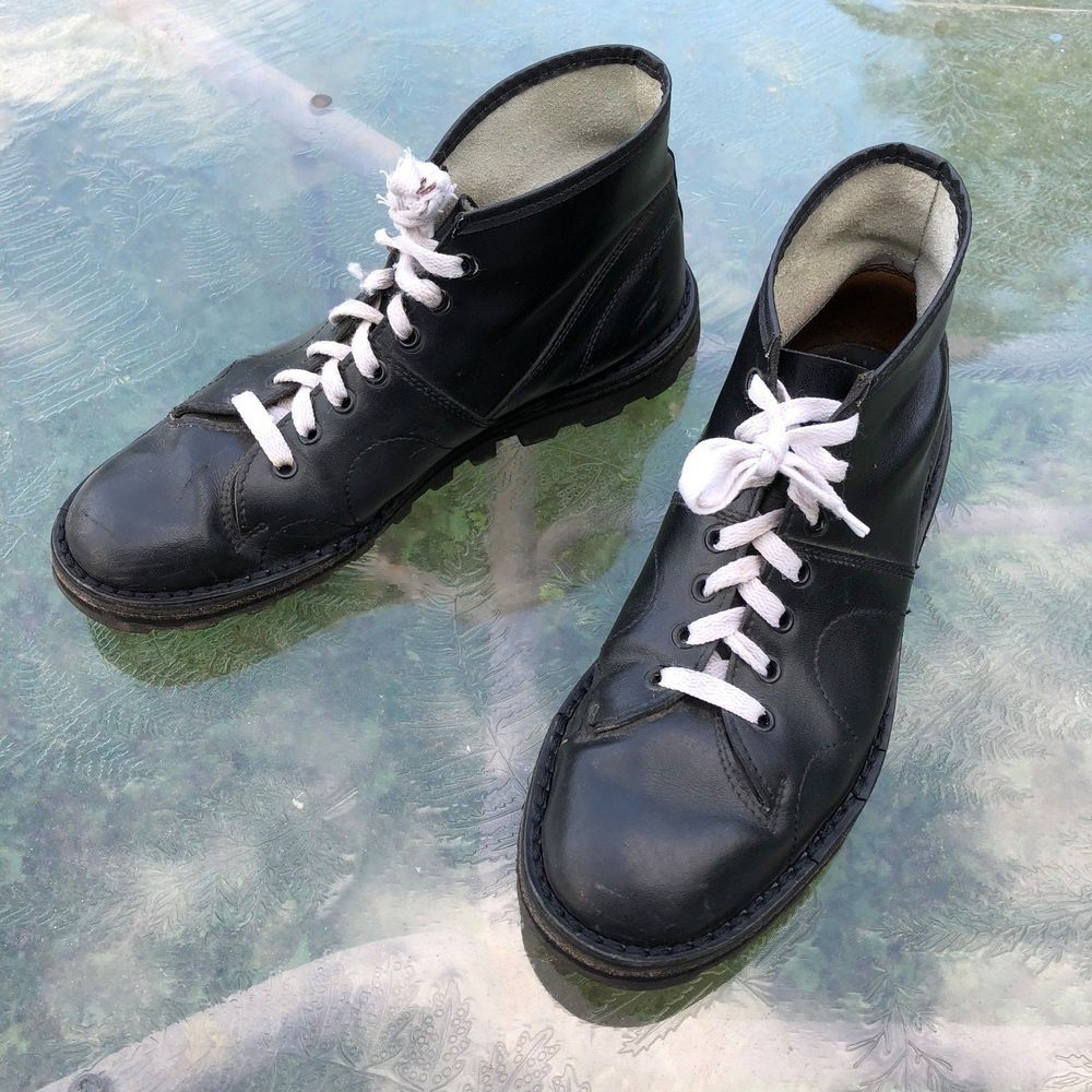 68475b0086d Black Monkey Boots by Grafters, White laces, size 8 UK / 9 US ...