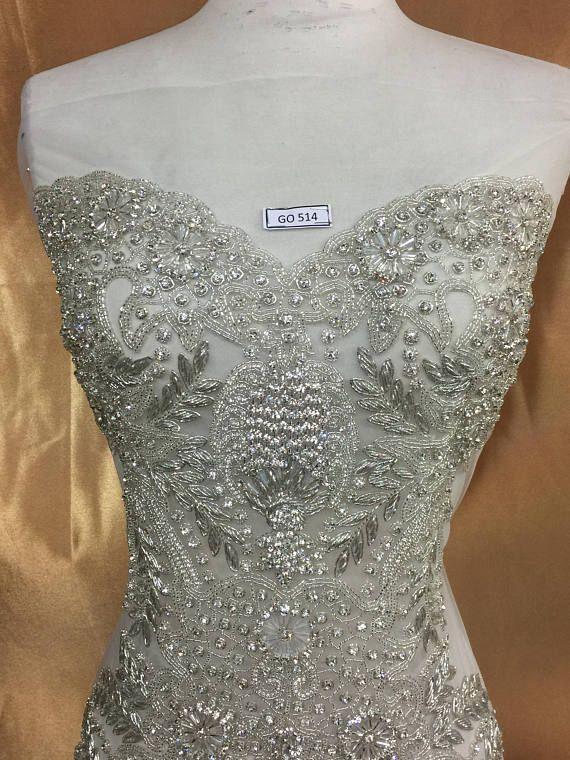 Designer Full Body Rhinestone Applique Beaded Wedding Dress