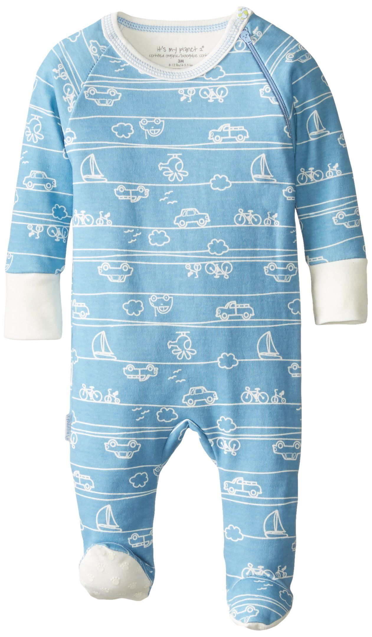 1 Month Kushies Baby Boys Front Snap Sleeper White Print