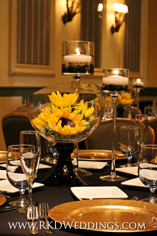 Black White And Gold Wedding Centerpiece With Large
