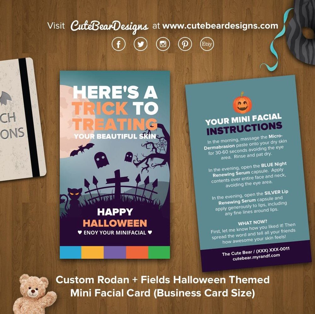 Custom rodan fields halloween themed mini facial card business custom rodan fields halloween themed mini facial card business card size magicingreecefo Image collections