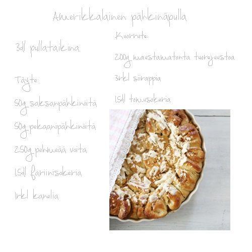 amerikkalainen pähkinäpulla, Leila Lindholm pullaohje,
