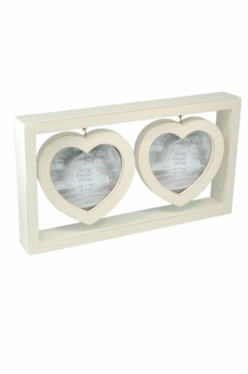 Cream Double Heart Wooden Frame Clean chic white wooden heart frame ...