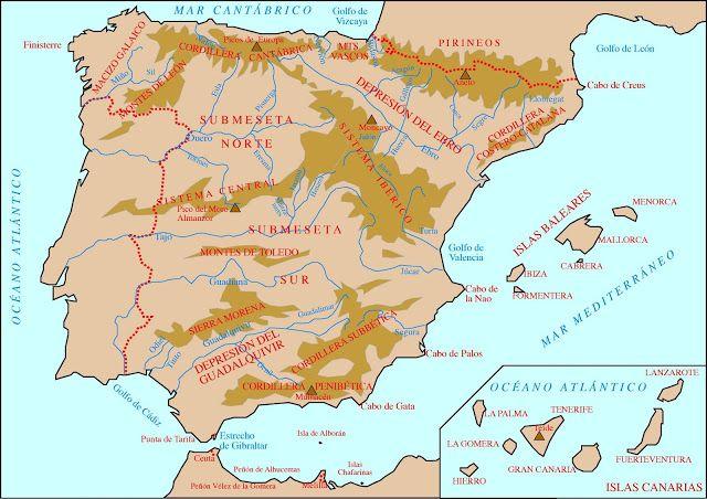 Cabo De Palos Mapa España.Atlas Geografico Espana Fisica Resuelto Mapas De La