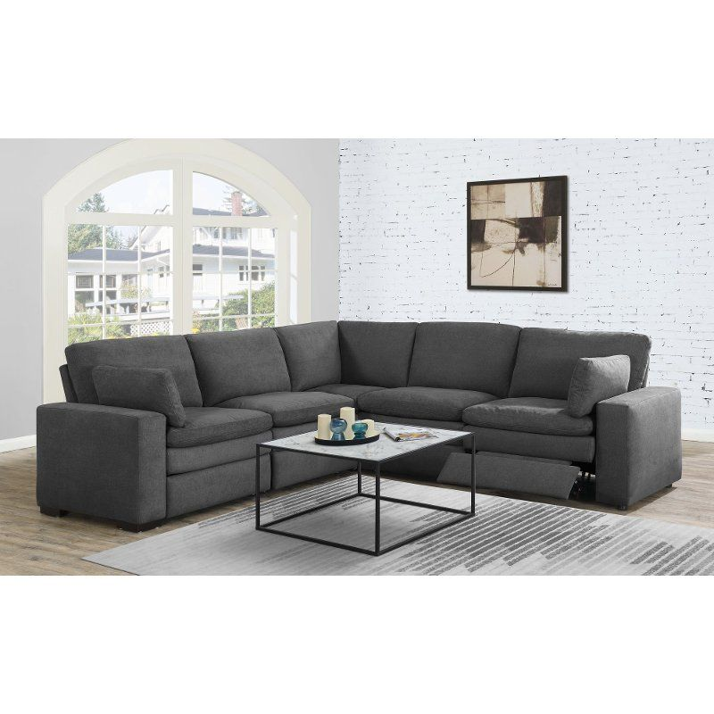 Charcoal Gray 5 Piece Power Reclining Sectional Sofa Infinity Sectional Sofa With Recliner Reclining Sectional Sectional Sofa