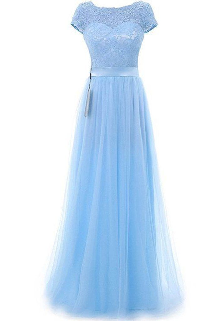 06d8f8ffda Light blue tulle lace round neck short sleeves long evening dresses, formal  dress for prom