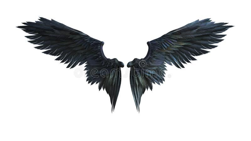 Photo about 3d Illustration Demon Wings, Black Wing ...