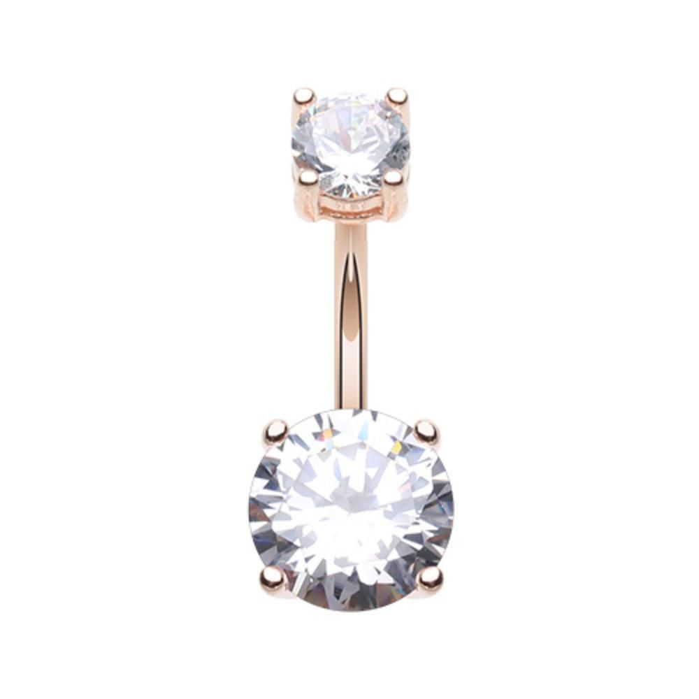 Rose Gold Classic Sparkle Prong Set Belly Button Ring  Products