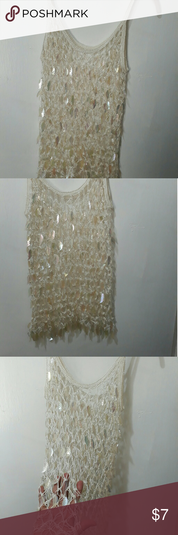 Cute Mesh Top Clear feathers all around this beautul top Tops Tank Tops