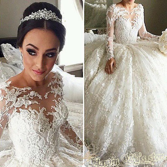 barato vestido de noiva manga longa princesa long sleeve wedding