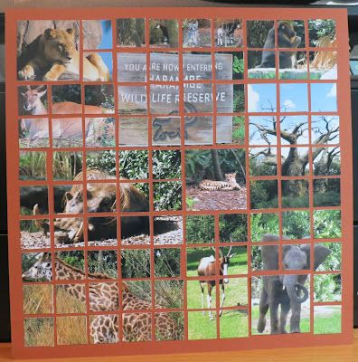 """This Disney Animal Kingdom page is made with Mosaic Moments. grid paper marks exactly where to place the 1"""" squares to allow for the appropriate spacing. With a mosaic I can weave together many pictures into one big scene. I bought the title from Paper Wizard at CKC lancaster. The title has many layers. The tree is fuzzy even... It took a while to get everything into place but I love the way it looks."""