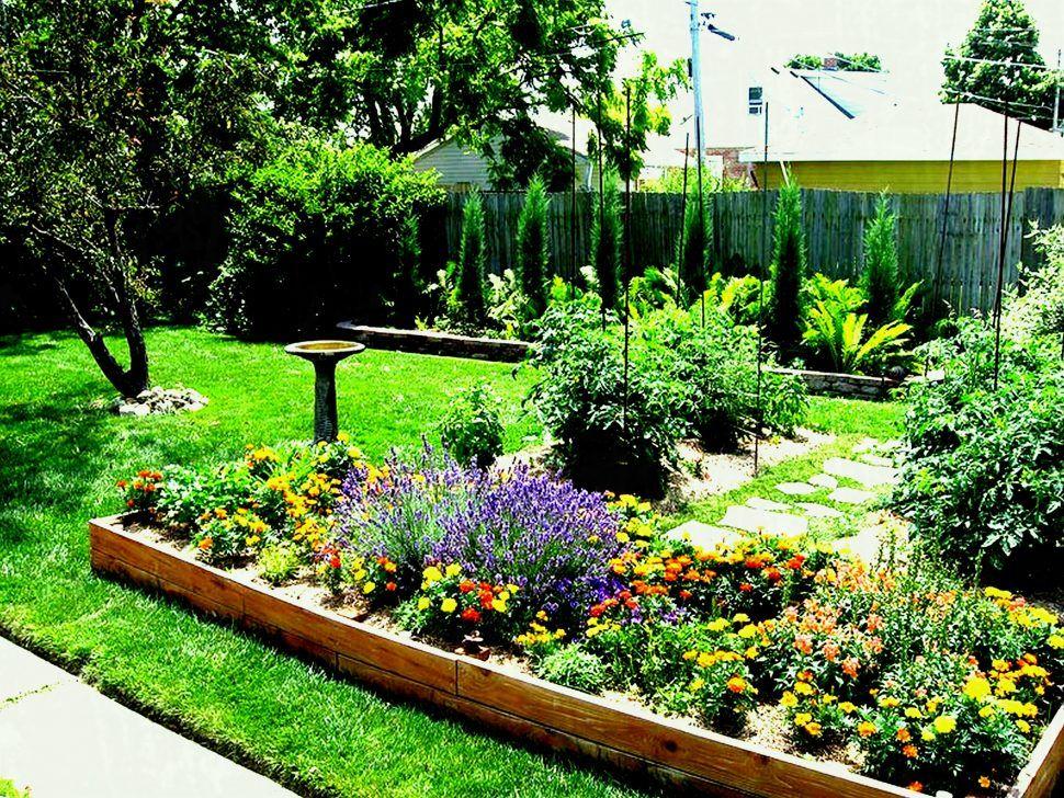 Backyard Garden And Patio Large Backyard House Design With Wood Raised Various Flowers Plants Green Gras Garden Ideas Large Small Garden Design Backyard Garden