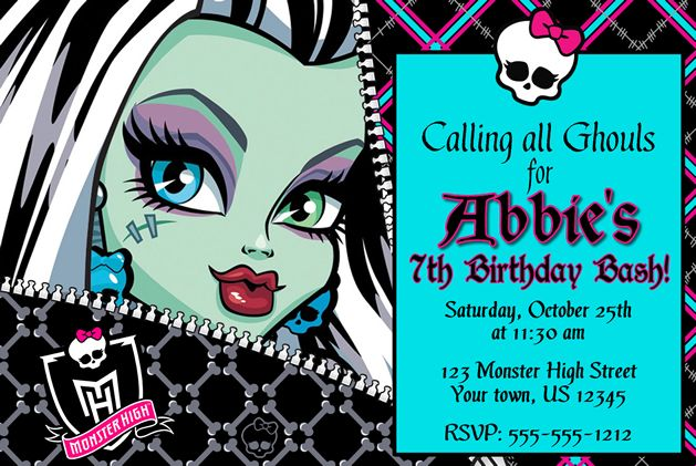 17 Best images about Monster High – Monster High Birthday Invites
