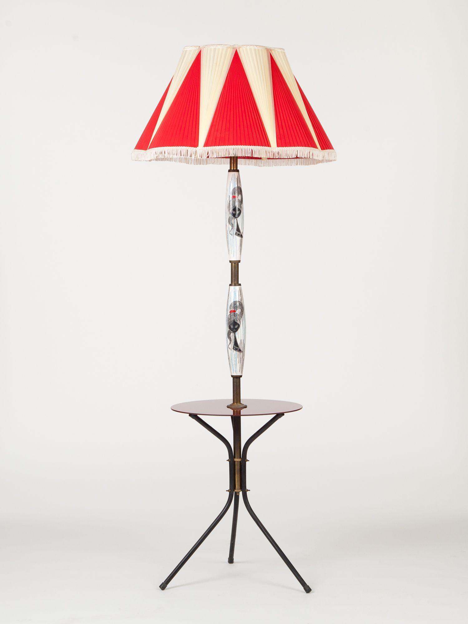 Lampada da terra anni '60 con paralume bicolore