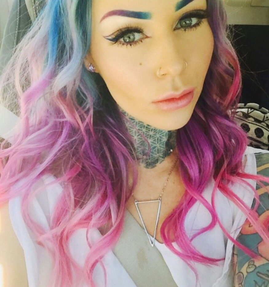 Oh My God Even Her Eyebrows Are Ombre Hot Pink Hair Purple Ombre Hair Ginger Hair Color