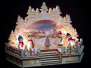 Weihnachtsbeleuchtung Lichterbogen.3d Led Lichterbogen Schwibbogen Kirche Seiffen 4 Bunte Schneemänner