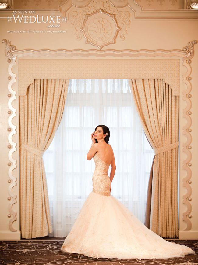 Exquisite Lazaro Wedding Dress In Pink Champagne Wish Bridal Shoot Via Angela Desveaux WedLuxe