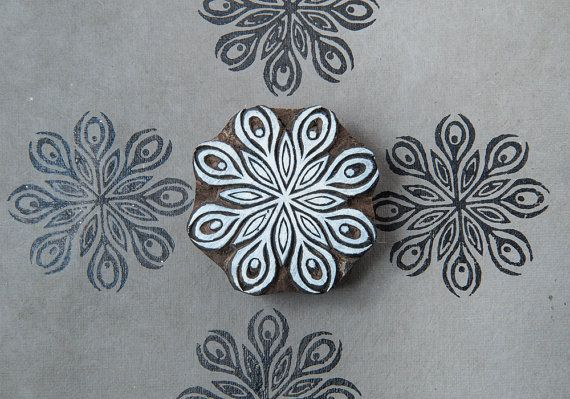 Starflower, wood block stamp
