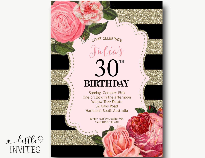 30 Cumpleaños Invitación Cumpleaños Invitación Mujer