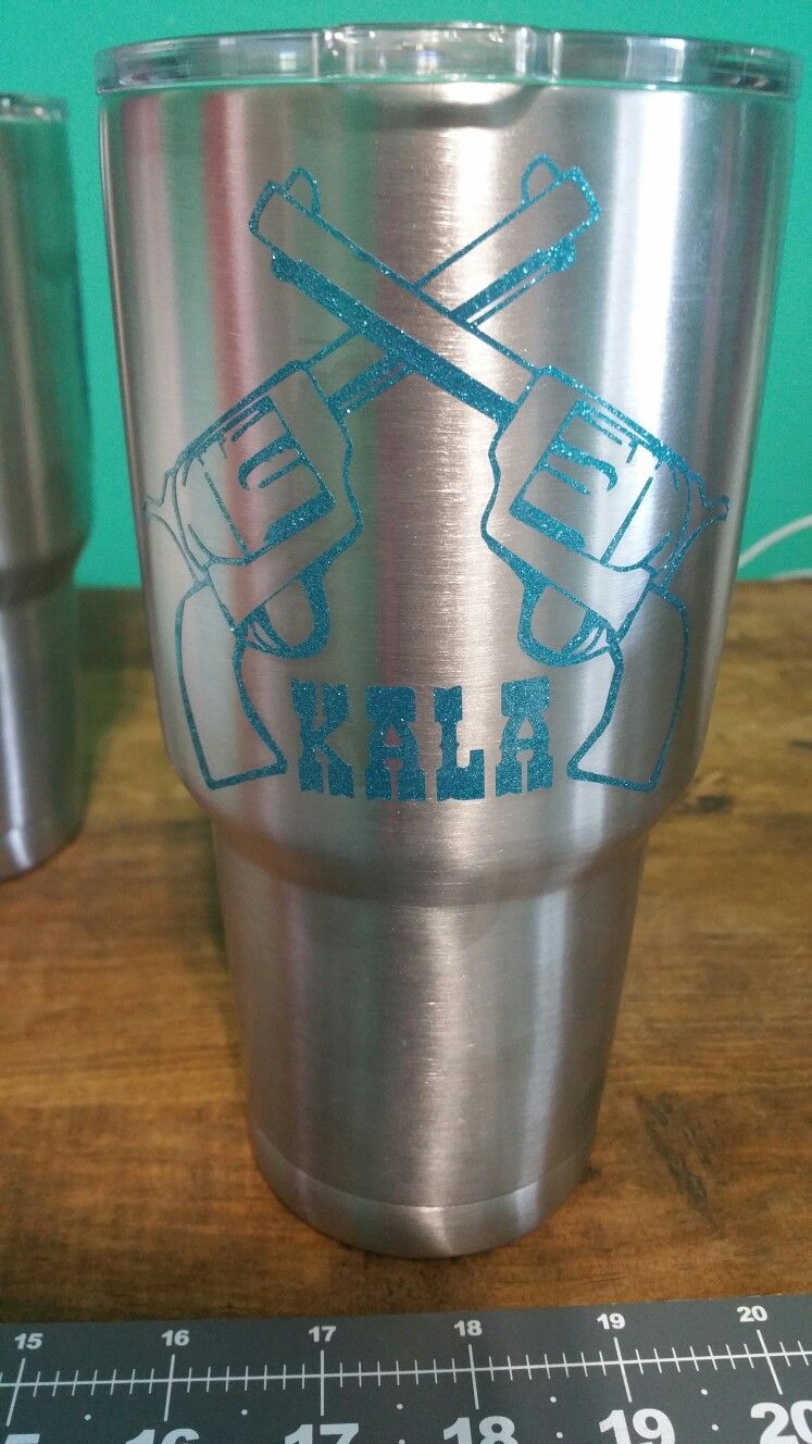 Custom pistol Name Tumbler, decals, Cooler Tumblers, Ozark Trail, Custom Decals. RanchNRhinestones, Mounted Shooting.