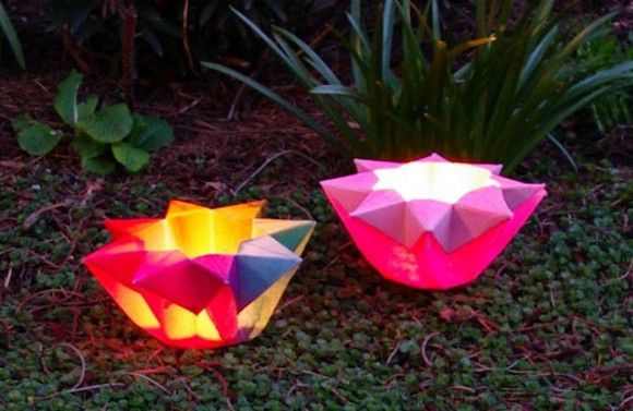 Origami Star Luminairies with dollar store electric tea lights