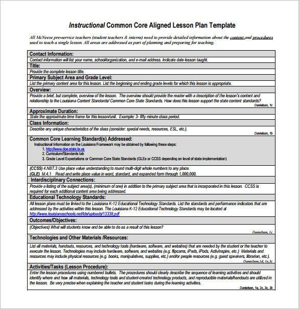 Lesson Plan Template Common Core Best Of Mon Core Lesson ...