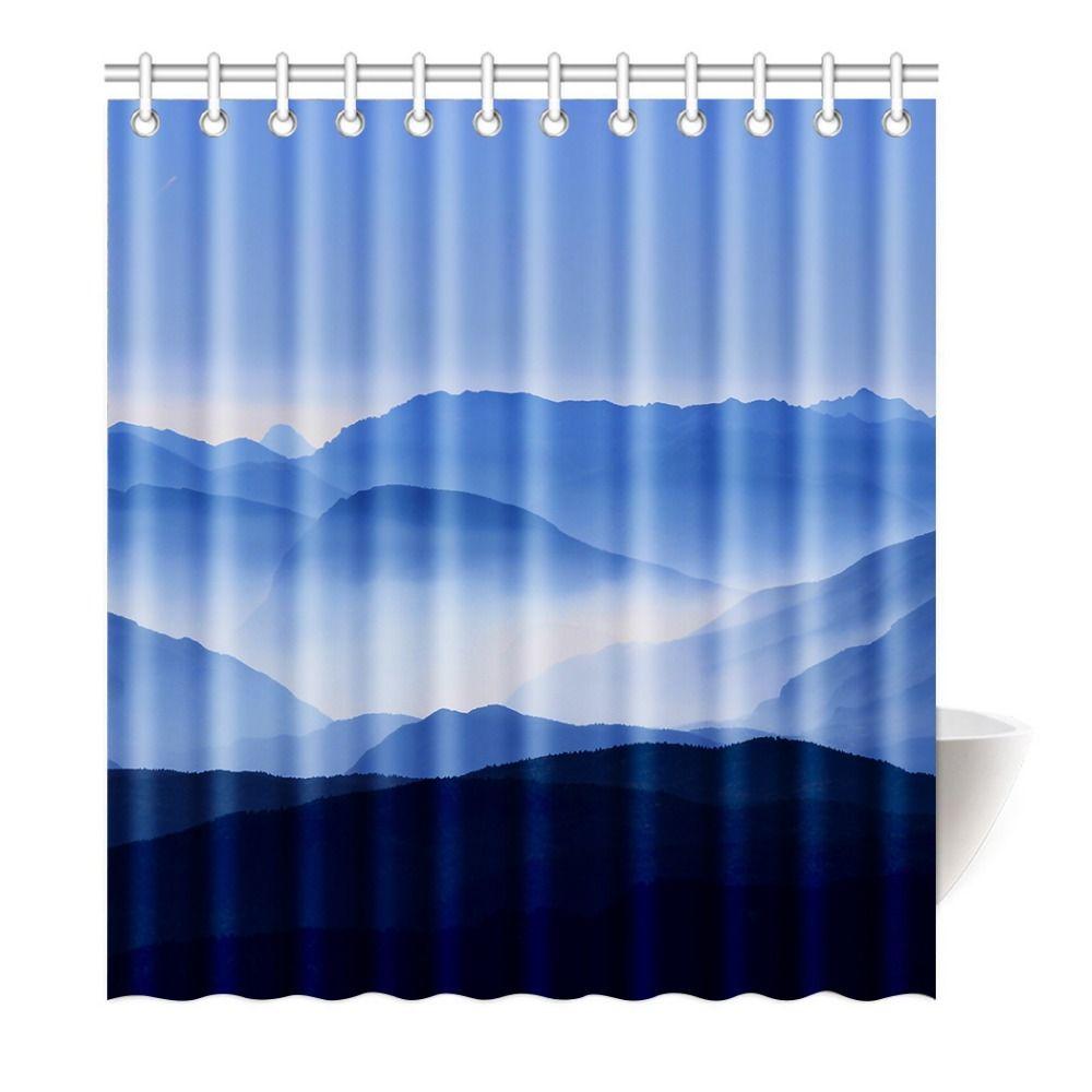 Shower Curtain Mountain Beauty View Waterproof Mildewproof Polyester ...